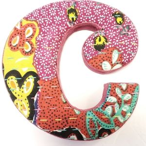 Anthropologie Letter C Quilted Monogram Wall Art